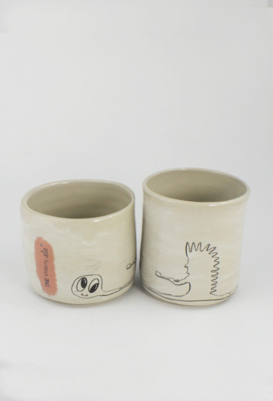 becherset keramik the-worm-ate-nummer-1-indianer-gefäß-set-my deer illustrated ceramics