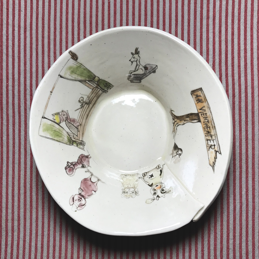 keramikschale-ziege zwei schweine am-viehtheater-my-deer-illustrated-ceramics-1